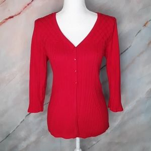 CROFT & BARROW Red Button Cardigan Sweater